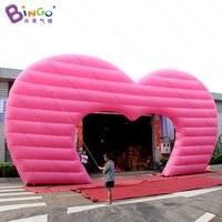 Personalizado 12x7 medidores dos namorados inflatables coração arco promocional rosa coração arcada airblown com brinquedos do motor