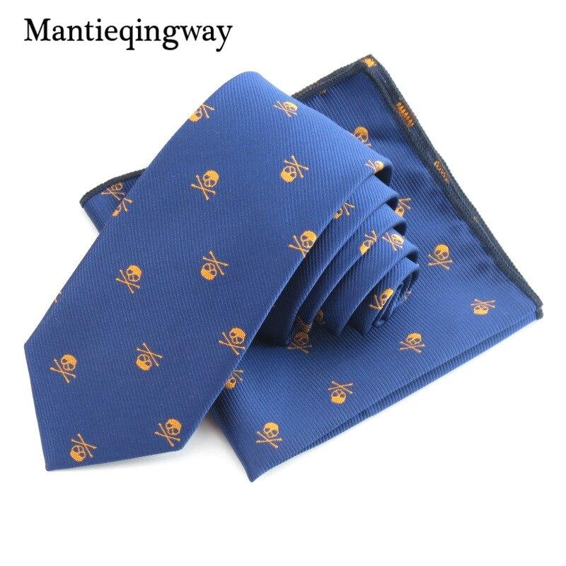 Mantieqingway Bisnis Saputangan Dasi Polyester Dasi Set Tengkorak - Aksesori pakaian - Foto 5
