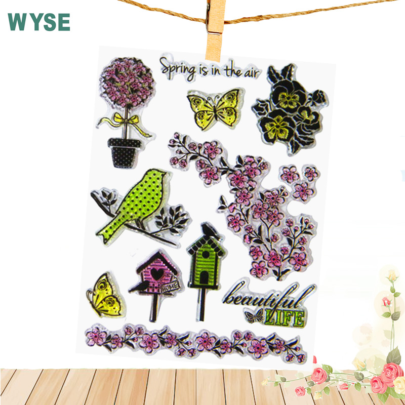 14*18cm Craft tools Spring bird flower leaf colorful Transparent Stamp Clear stamps for Scrapbooking album DIY PHOTO Decor tools from 2012 ea1420 1ms new 0626 coastal bird stamps