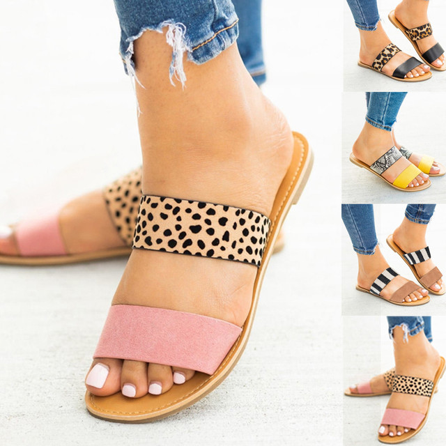 Plus Size 35-43 Non-Slip sandals women Sandalias Mujer 2019 chaussures femme Leopard Flat Sandals Mixed Color Lazy Half Slippers
