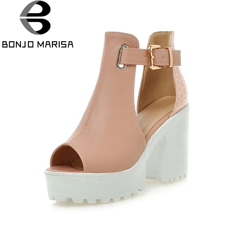 Quality Women Gladiator Sandals T-strap Buckle Up Chunky High Heels Peep Toe Platform Summer Shoes for Woman Pink White Blue gold silver pink gladiator sandals summer high heels platform shoes woman buckle strap pumps casual women shoes plus size 33 43
