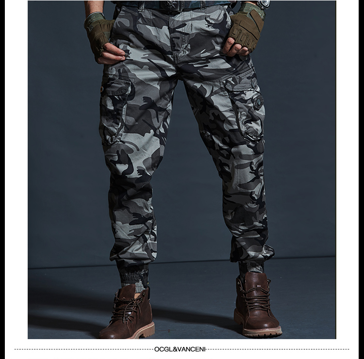 High Quality Khaki Casual Pants Men Military Tactical Joggers Camouflage Cargo Pants Multi-Pocket Fashions Black Army Trousers 64