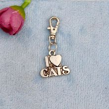 New 50pcs Vintage Silver I Love Cat Charm Rotation Lobster Button Keychain Gifts Fit DIY Key Chains Jewelry For Women&Men J666