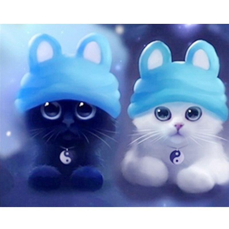 DIY Diamond Lukisan Cross Stitch Kartun Kucing Diamond Bordir Putih Hitam Kucing Square Lucu Anak anak