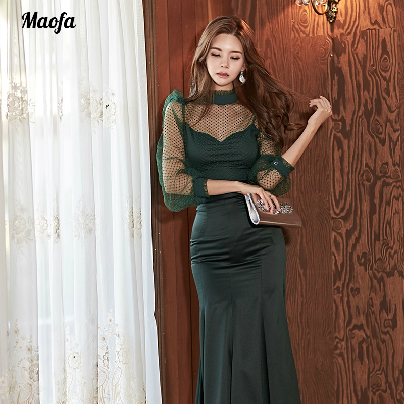 Robe sirène grande taille femmes vert manches longues Stand volants mi-mollet velours élégant Club robe automne bouton robes dames