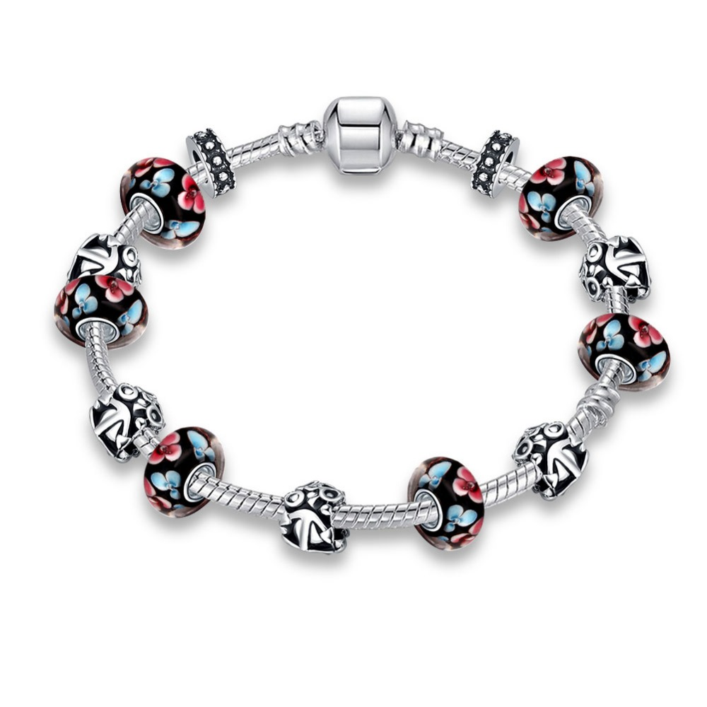 Sterling 925 Silver Heart Shape Love Womens Pandor Bead Bracelet red Leaf Floral Crystal Charms Bracelet Bangle Pulsera Jewelry