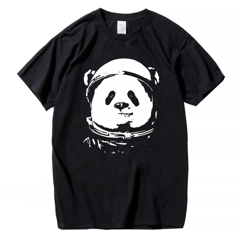 HTB1IJEnSpXXXXX.XXXX760XFXXXz - HanHent Space Panda T-shirt Men 2017 Fashion Cute Animal Funny Tee Shirts O-neck Cool Streetwear Style Classical Black Tops Tees