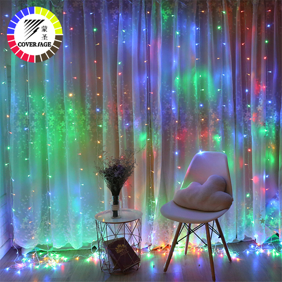 Coversage Fairy Christmas Curtain Garland Light 1.5x1.5M 2x2M Christmas Decorative LED String Xmas Party Garden Wedding Lights