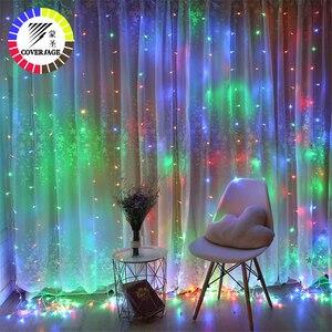 Image 1 - Guirlande lumineuse pour rideau décoratif féerique de noël, 1.5x1.5M, 2x2M, guirlandes de noël, LED cordes, pour fête de noël, jardin, mariage