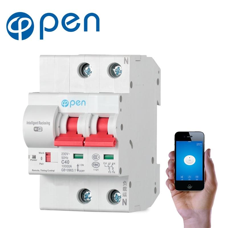 Ouvrez le disjoncteur à télécommande de Wifi de 2 P/commutateur Intelligent/protection automatique intelligente de court-Circuit de surcharge de recperdant