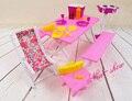 Розовый барбекю стол стол стул комплект / притворись играть кукольный домик мебельной фурнитуры украшение коллекции для барби kurhn куклы