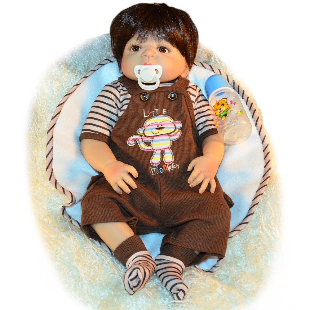 60 см силиконовые куклы Reborn Baby гладкие коричневые короткие волосы мальчик реалистичный хлопок тело Детские куклы мягкое прикосновение Дети ... - 5