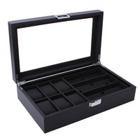 6+3 Mix Grids Carbon Fiber Watch Box Sunglasses Organizer Jewelry Collection Glasses Watch Display Holder Portable Case