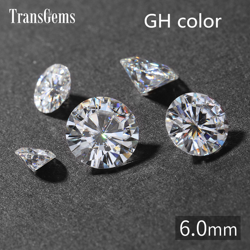 TransGems 1 Piece 6mm Excellent Hearts and Arrows Cut GH Color Moissanite for Jewelry Making Equivalent