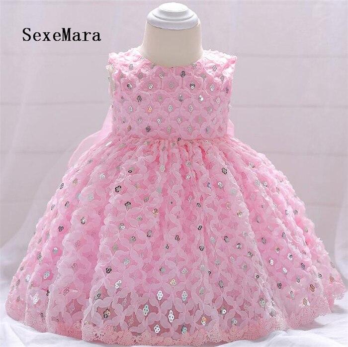 Newborn Baby Girl Dresses Super Back Organza Bow Sequins Belt Baby Christening Gowns 1 year birthday dress vestido infantil стоимость
