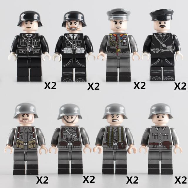 WW2 Military Minifigs Building Blocks Sets MOC Germany Army Soldiers Imported Officers Bricks DIY Toys for Children Gifts W096