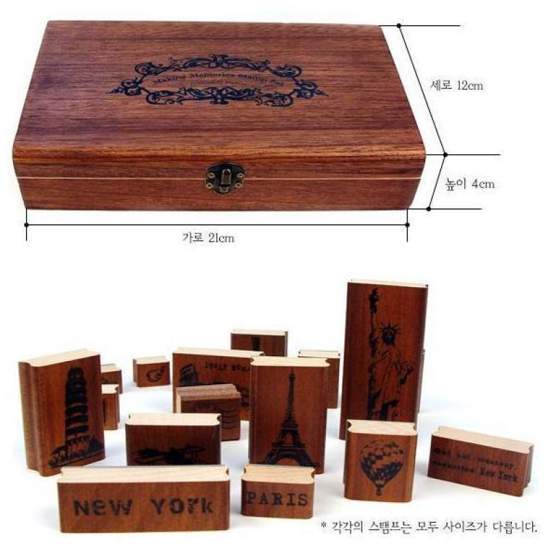 15pcs wooden antique stamps seal world famous scenery Eiffel Statue of Liberty Leaning Tower of Pisa etc the statue of liberty eiffel tower protective plastic back case for iphone 5 multicolored