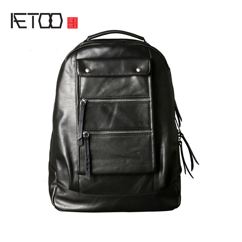 AETOO New leather shoulder bag male first layer leather backpack fashion trend Korean version of the tide leisure travel compute 2017 winter fashion leisure quality waterprof pu men backpack college windbag trend korean version of the tide travellaptop bag