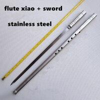 Métal Flûte Xiao + Épée G Clé Tai Chi Musculation Épée Flauta xiao Arts Martiaux Épée Flûte Vertical Flûte Auto -défense Arme