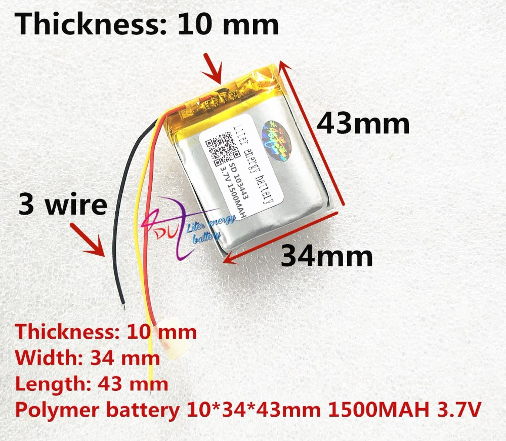 3 line Liter energy battery 3.7V lithium polymer battery 103443 1500MAH game machine MP3 MP4 MP5 lithium battery GPS navigator liter energy battery 3 7v polymer lithium battery 401215 mp3 mp4 60mah bluetooth headset small toy sound