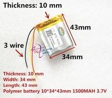 3 satır Litre enerji pil 3.7 V lityum polimer pil 103443 1500 MAH oyun makinesi MP3 MP4 MP5 lityum pil GPS navigator