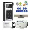 Free Shipping Wireless Wifi Phone Video Door Phone Intercom Metal Doorbell Camera RFID Keypad Access Electric Strie Door Lock