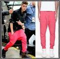 Hot Justin Bieber mismo estilo pies rosados flying squirrel pantalones hombres pantalones harem Hip-Hop de Moda los hombres de alta calidad