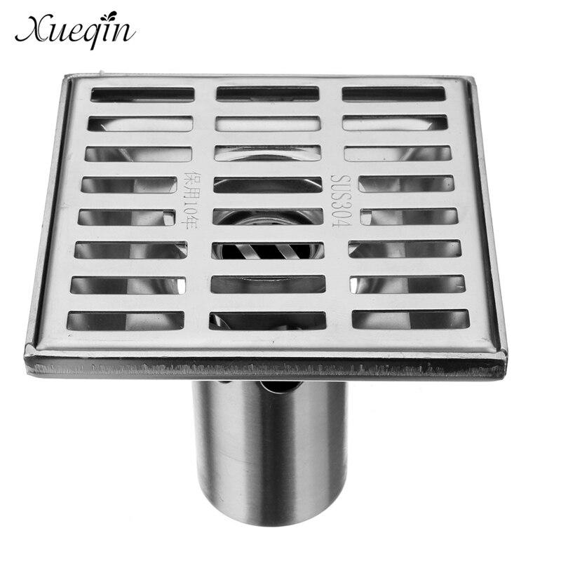 ФОТО Xueqin Free Shipping Bathroom Floor Drain Shower Water Strainer Square Stainless Steel Household Anti-backflow Floor Drain