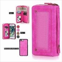 Lujo del cuero de la cremallera bolso cartera teléfono estuche para iPhone 7 6 6 s más multifunción para iPhone 8 7 más teléfono Bolsas