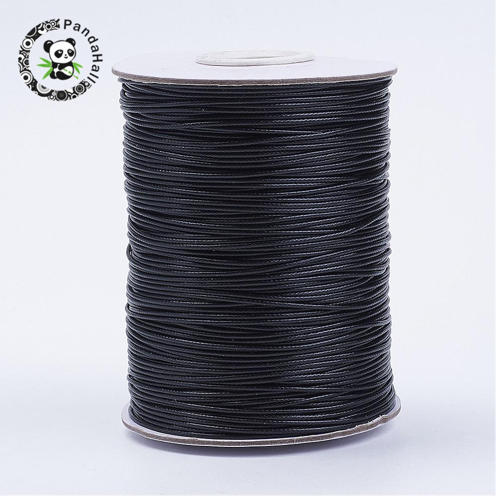 Korean Waxed Polyester Cord, Black, about 1.0mm thick, about