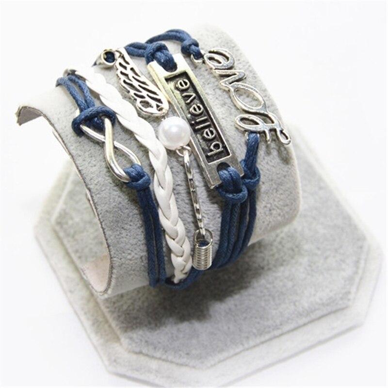 L0198 New Hot 2016 Popular Multilayer Braided Bracelets Vintage Believe wings Multicolor Woven Leather Bracelet Bangle girl - BILL JEWELRY CO,.LTD Min order $8 store