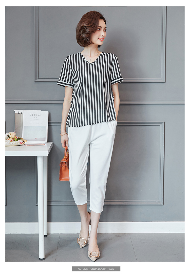 Plus Size Summer Striped Two Pieces Sets Women Short Sleeve Tops And Cropped Pants Suits Sets Casual Korean Women's Costume 2019 34