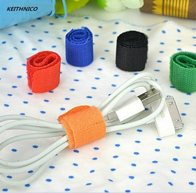 KEITHNICO 20Pcs Cable Ties Wrapped Reusable Adhesive Strap Organizer USB PC TV Cord Wire Plug Clip Holder Organizer Tie Belt
