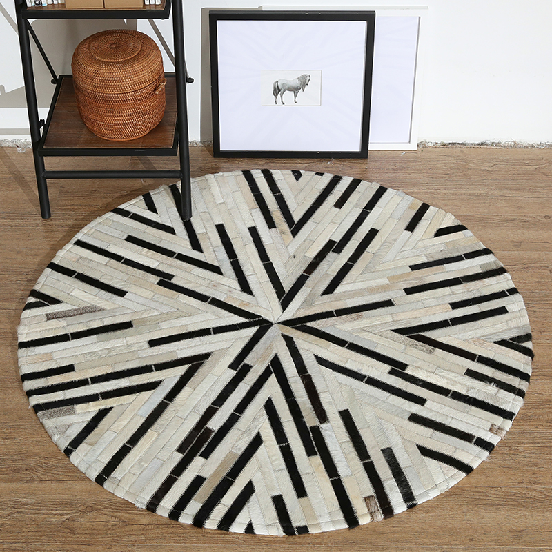 Leather stitching round rug can be customized study Nordic geometric living room coffee table mat bedroom bedside blanket