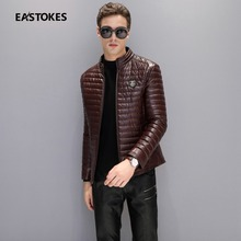 Men Duck Down Coats Withe Ribbed Detail Winter Men Faux Leather Jackets Badge Men Winter Outwears Men Down Parkas Plus Size