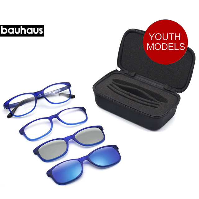 b0bcad95d0f bauhaus Italy ULTEM Light Magnet Clip Sunglasses Polarized Children Four  Uses Eyeglasses Myopia Optic Frames 3D