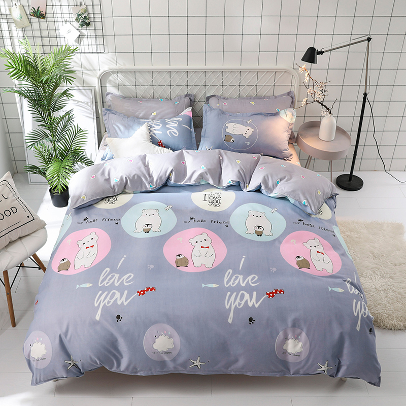 Penguin Bear Fish Candy Color Heart Cartoon British Style 4pcs Duvet Cover Sets Soft Bed Linen Flat Bed Sheet Kids Sweet Girl