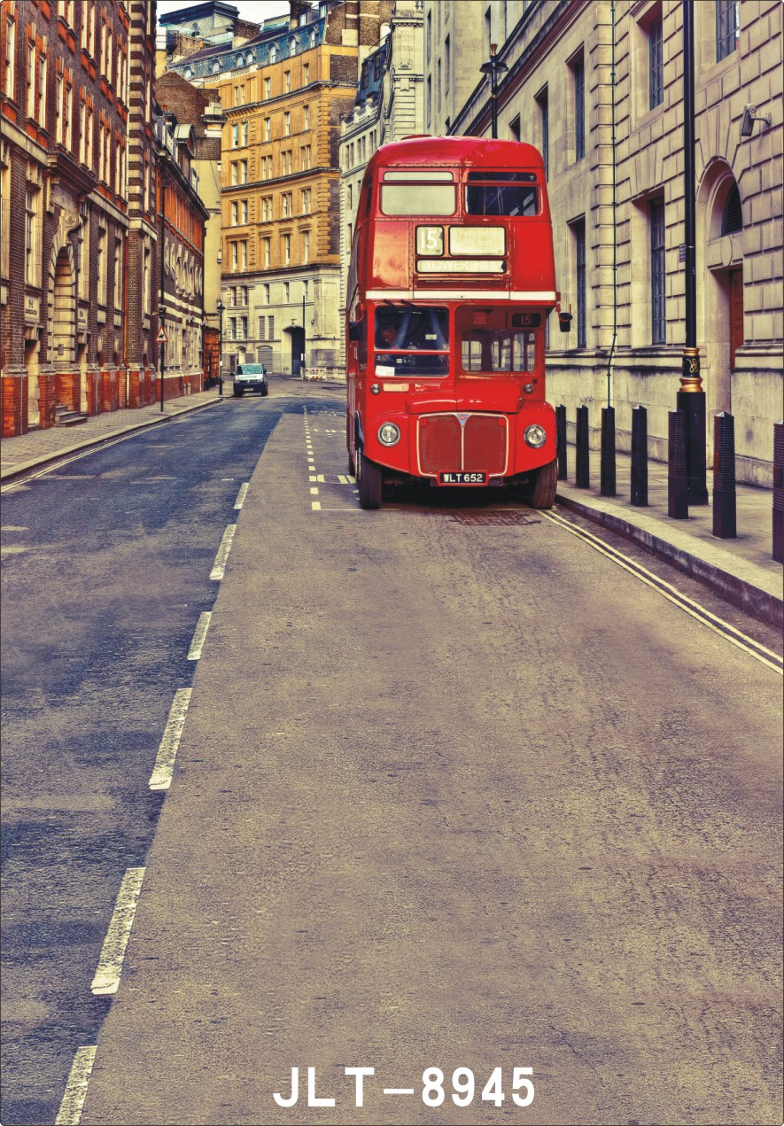 City Street Double Decker Bus Wedding Children Vinyl Background For Photo Studio Props Baby Backdrops Photography In From Consumer