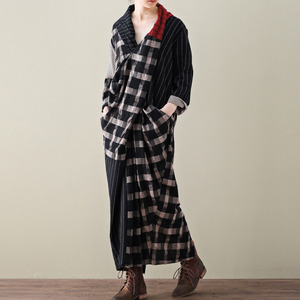 Image 3 - LANMREM 2020 Spring New Casual Fashion Literary Women Loose Plus Chest Cross Long Plaid Cotton And Linen Dress TC399