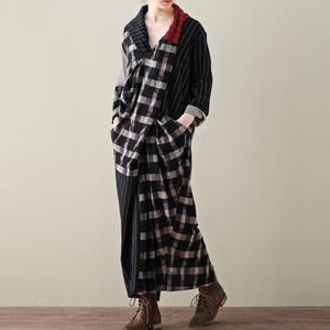 Image 3 - LANMREM 2020 primavera nueva moda Casual mujer literaria suelta más pecho largas y cruzadas a cuadros vestido de algodón y lino TC399