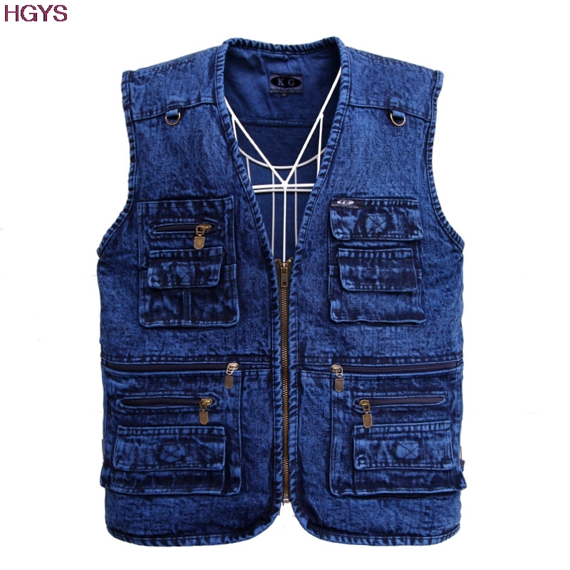 BOU 2019 male More than pure cotton pocket Increase in the spring and autumn Denim vest
