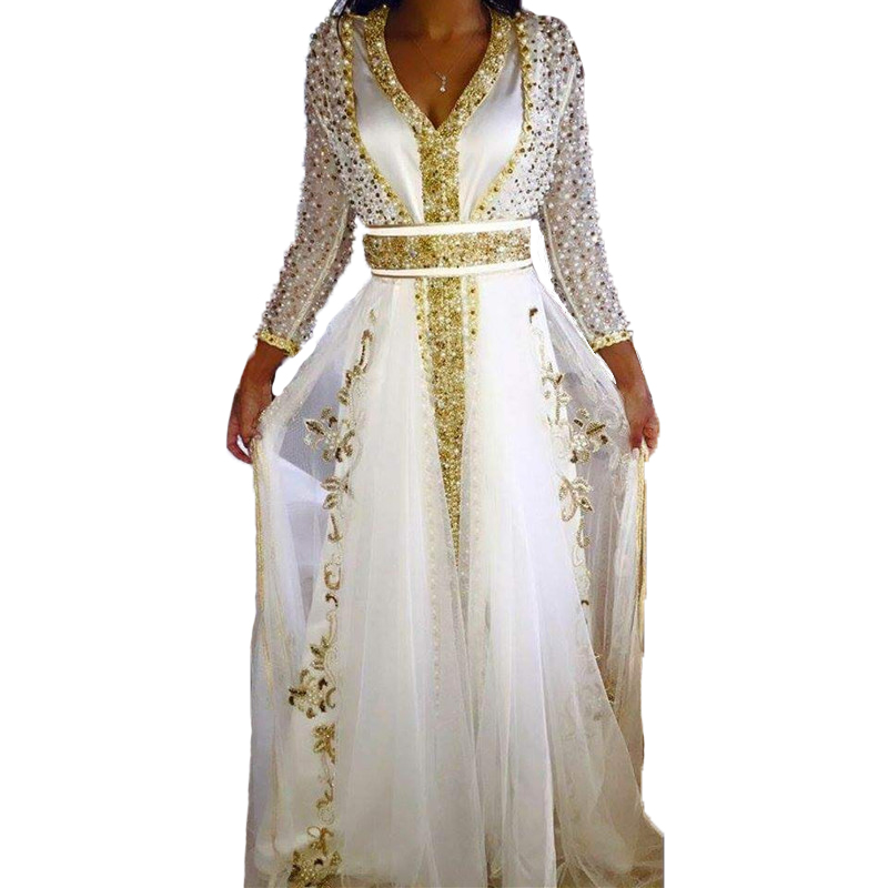 Saudi Arabia Dress White Gold Prom Dresses 2017 Long Sleeve Plus ...