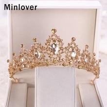 c08c21c6c1cd5 Minlover الفاخرة الذهب اللون كريستال الباروك الزفاف التيجان التيجان العروس  إكسسوارات الشعر الأميرة عقال النساء فتاة الإكليل G162