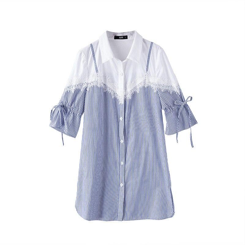 Striped Splicing Cotton Shirt Plus Size Women Clothing