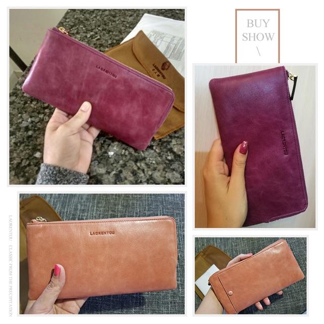 LAORENTOU Genuine Leather Lady Wallet Designer Brand Fashion Women Wallets Leather Women Purse With Phone Pocket Card Holder N6