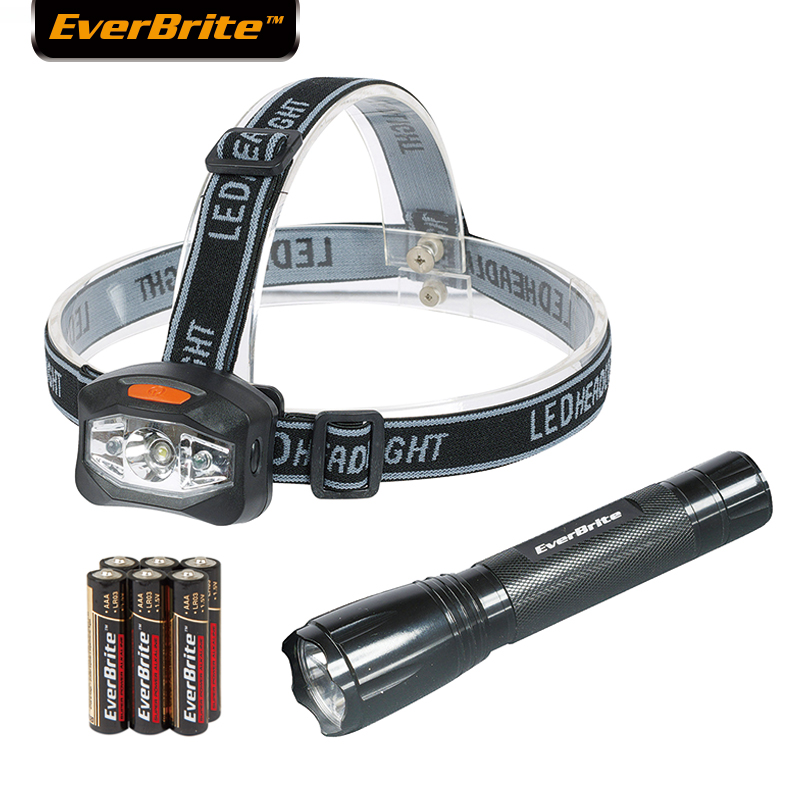 Everbrite LED Zaklamp set Buiten Camping Licht Koplamp 30 Lumen Zaklamp (2 stuks) LED zaklamp