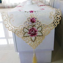 European Style Dining Table Flag Pad Cloth Cover Coffee Embroidery Tablecloth Pastoral Hollow TV Cabinet Dust-proof Towel Tapete
