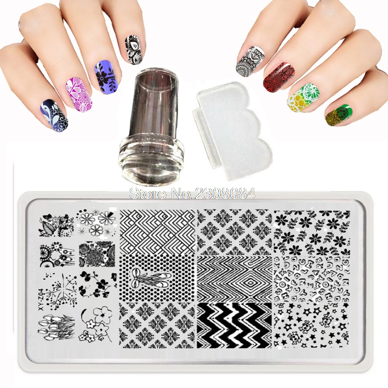 12x6cm Nail Printing Stamp 30 Style Nail Art template Set Kits Lace Flower Print Steel Plate DIY Knife Nail Stamping Plates New