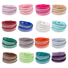 Multilayer Rhinestone Bracelet for women girls Leather Wrap Wristband Cuff Punk Crystal Bracelet Bangle Fashion female jewelry graceful exaggerated rhinestone cuff bracelet for women