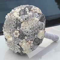 Nova Lindo cristal frisado buquê de casamento sliver rose safira pérola da dama de honra flores artificiais bouquets de noiva